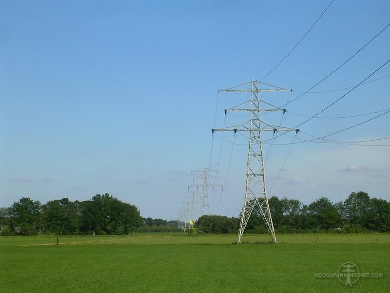 Afspanmast in de 110 kV-verbinding Hoogeveen-Veenoord