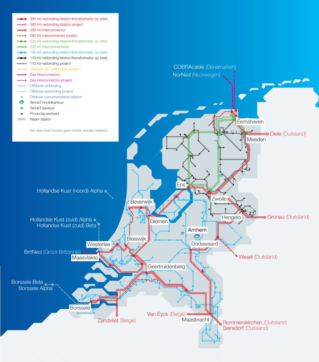 Netkaart van TenneT, zoals vrijgegegven door de netbeheerder op 01 maart 2017