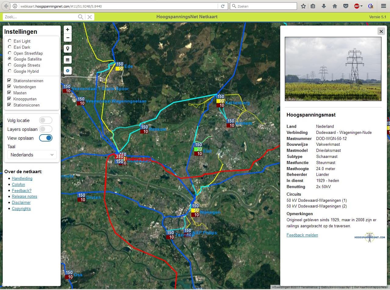 Screenshot van de webkaart op een computerscherm