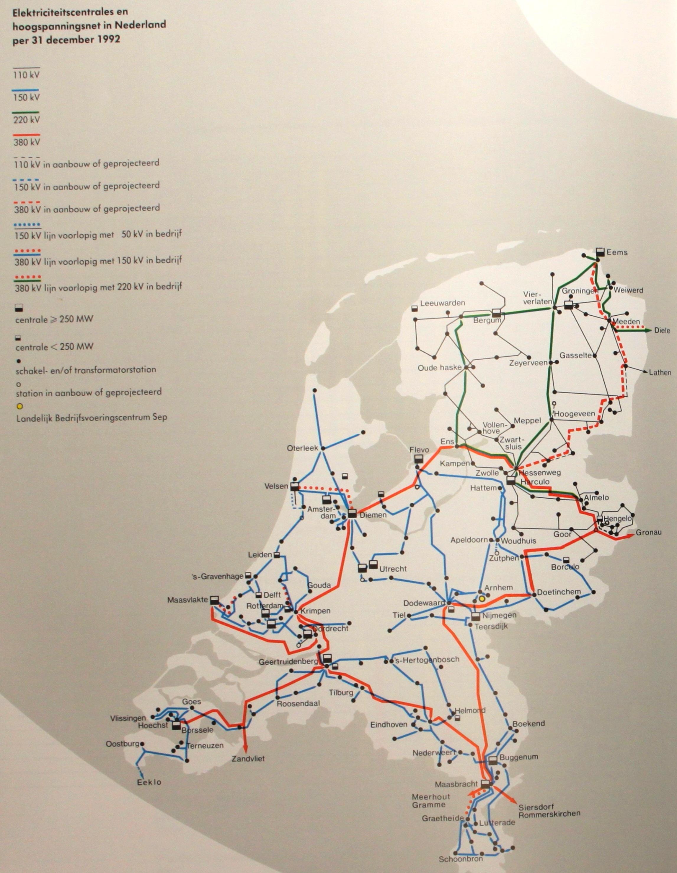 Netkaart van 1992