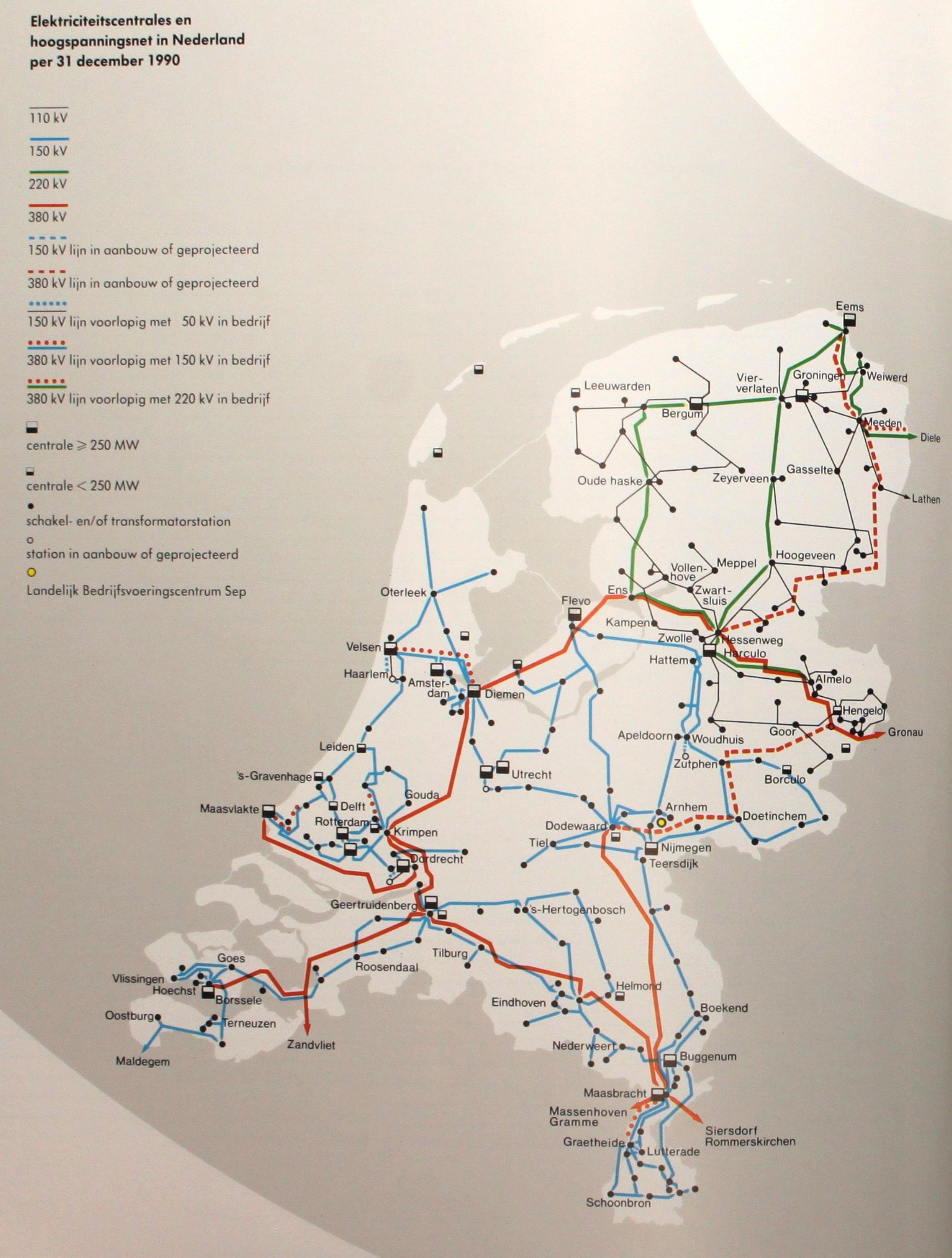 Netkaart van 1990