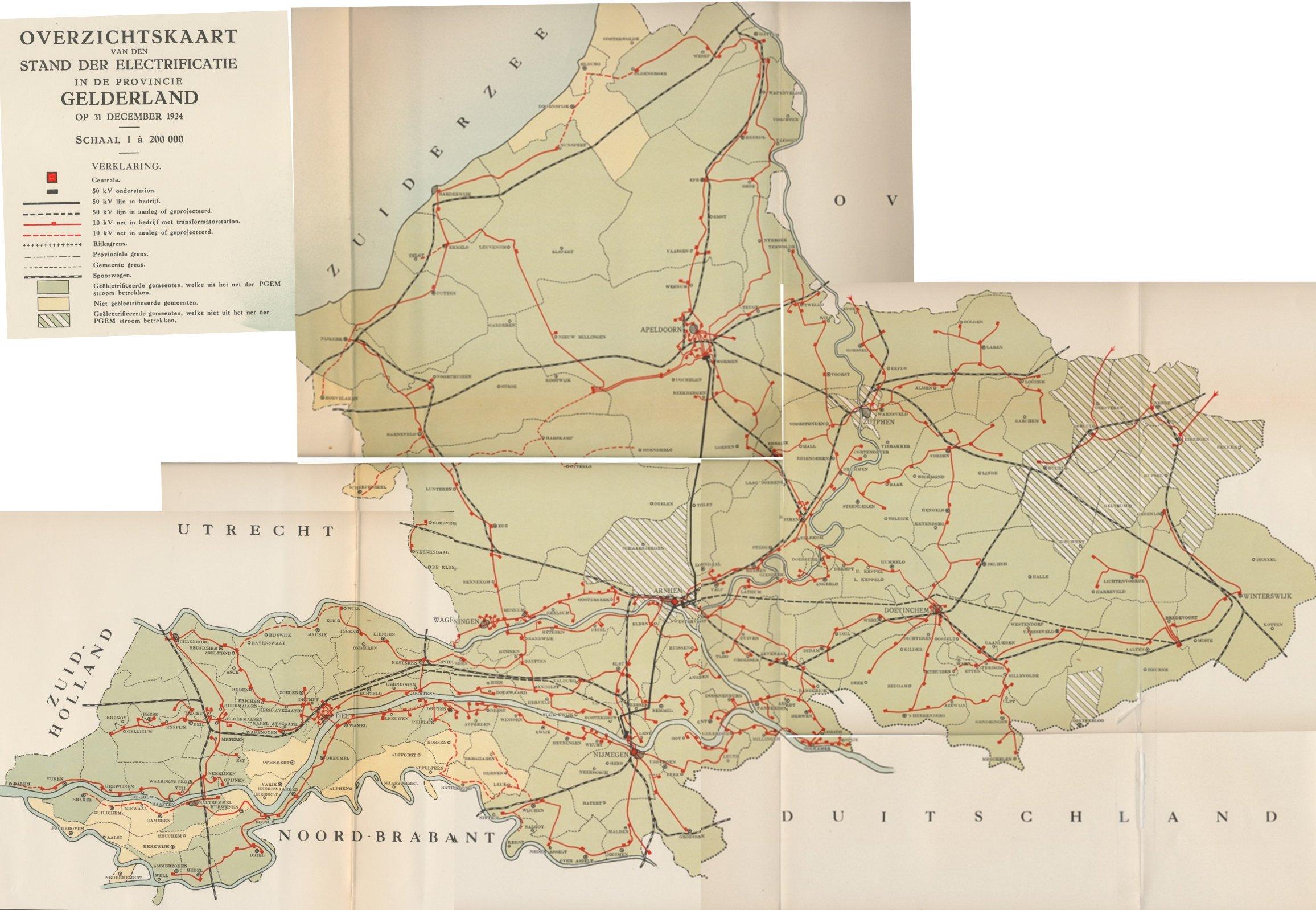 Netkaart Gelderland 1924