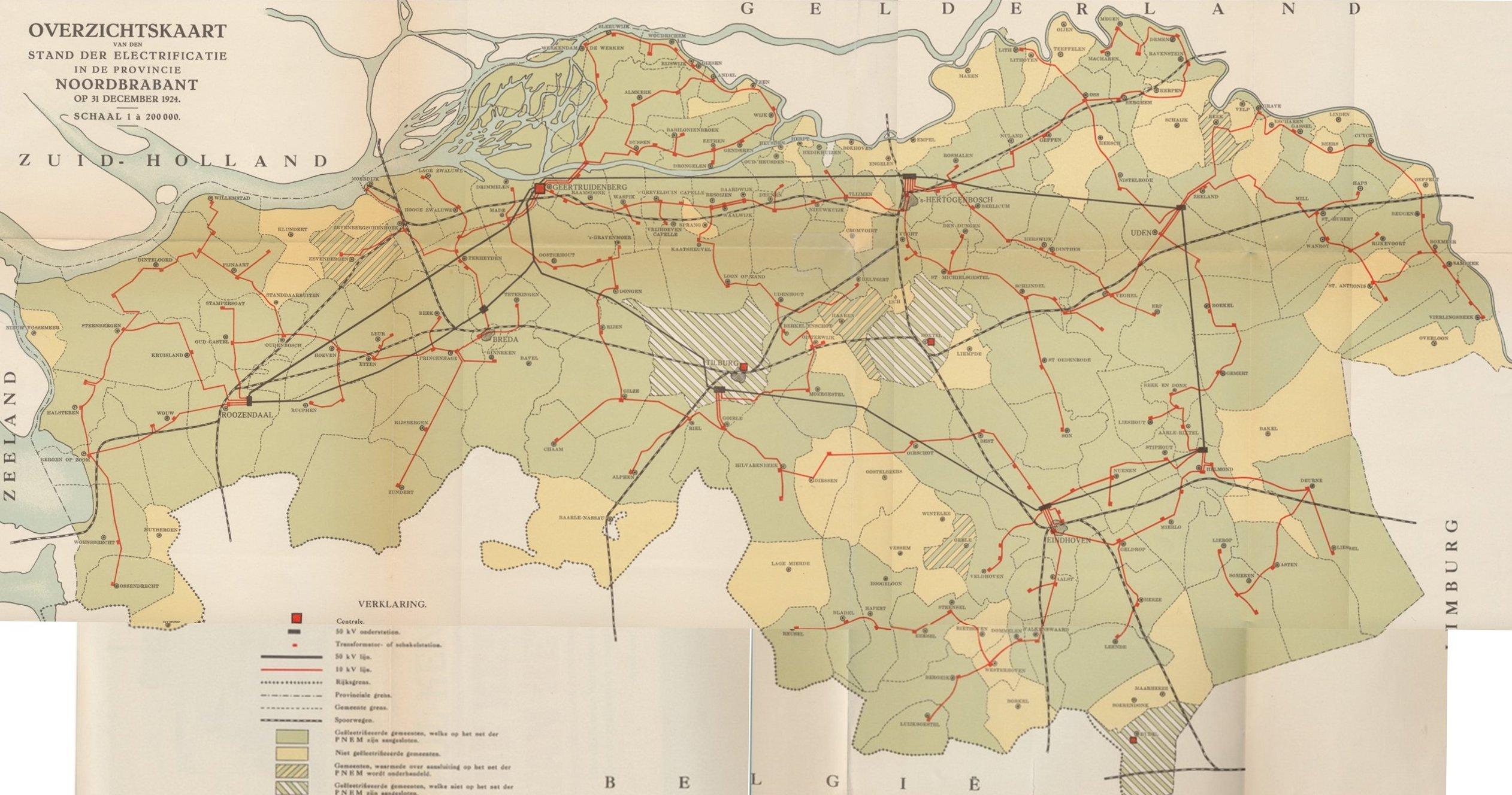 Netkaart Noord Brabant 1924