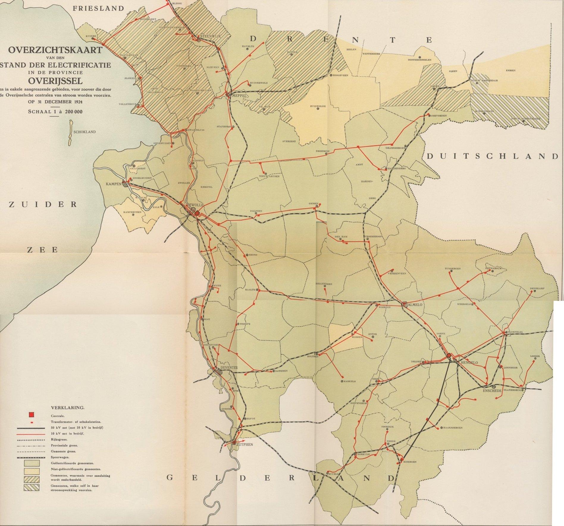 Netkaart IJsselmij 1924