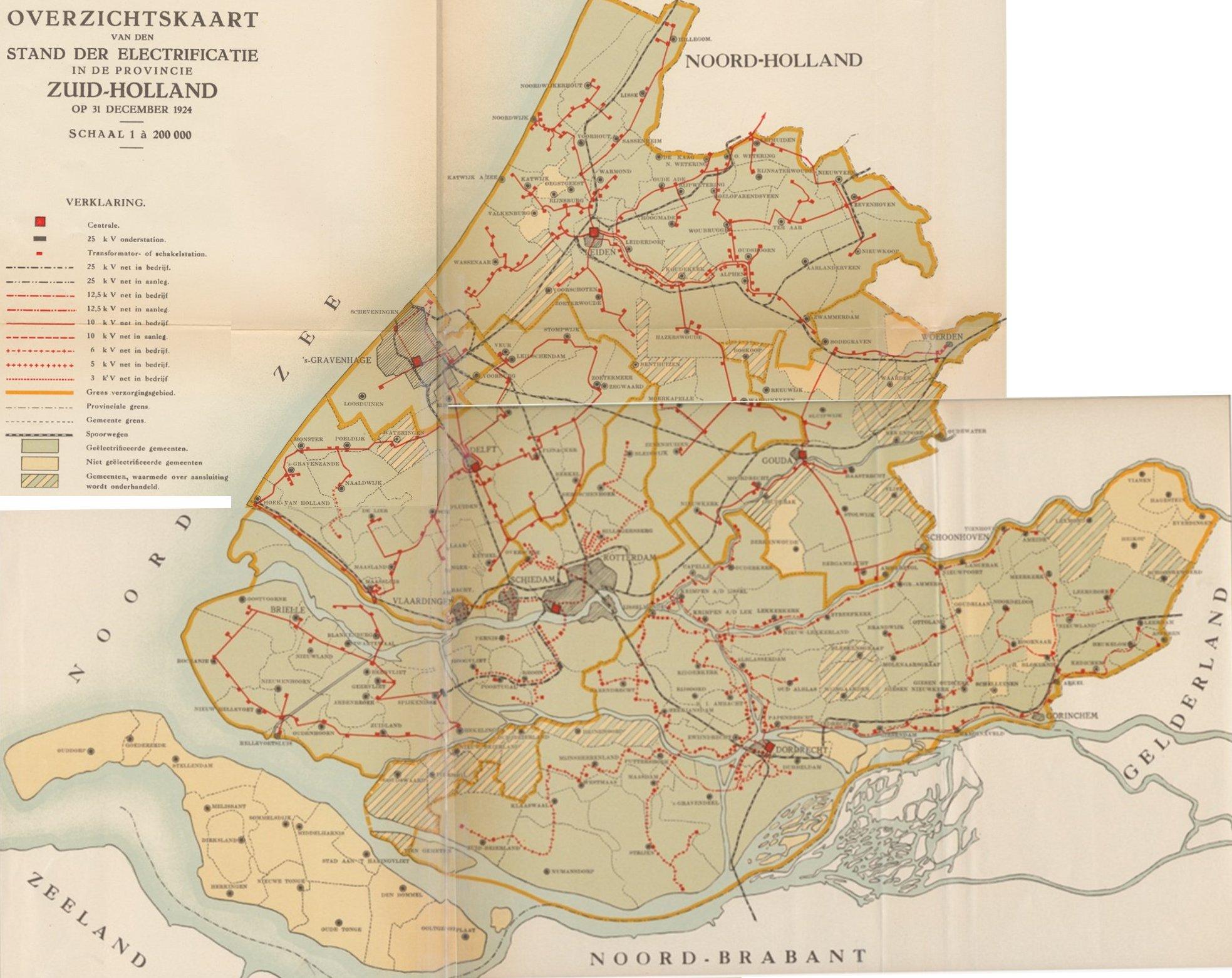 Netkaart Zuid Holland 1924