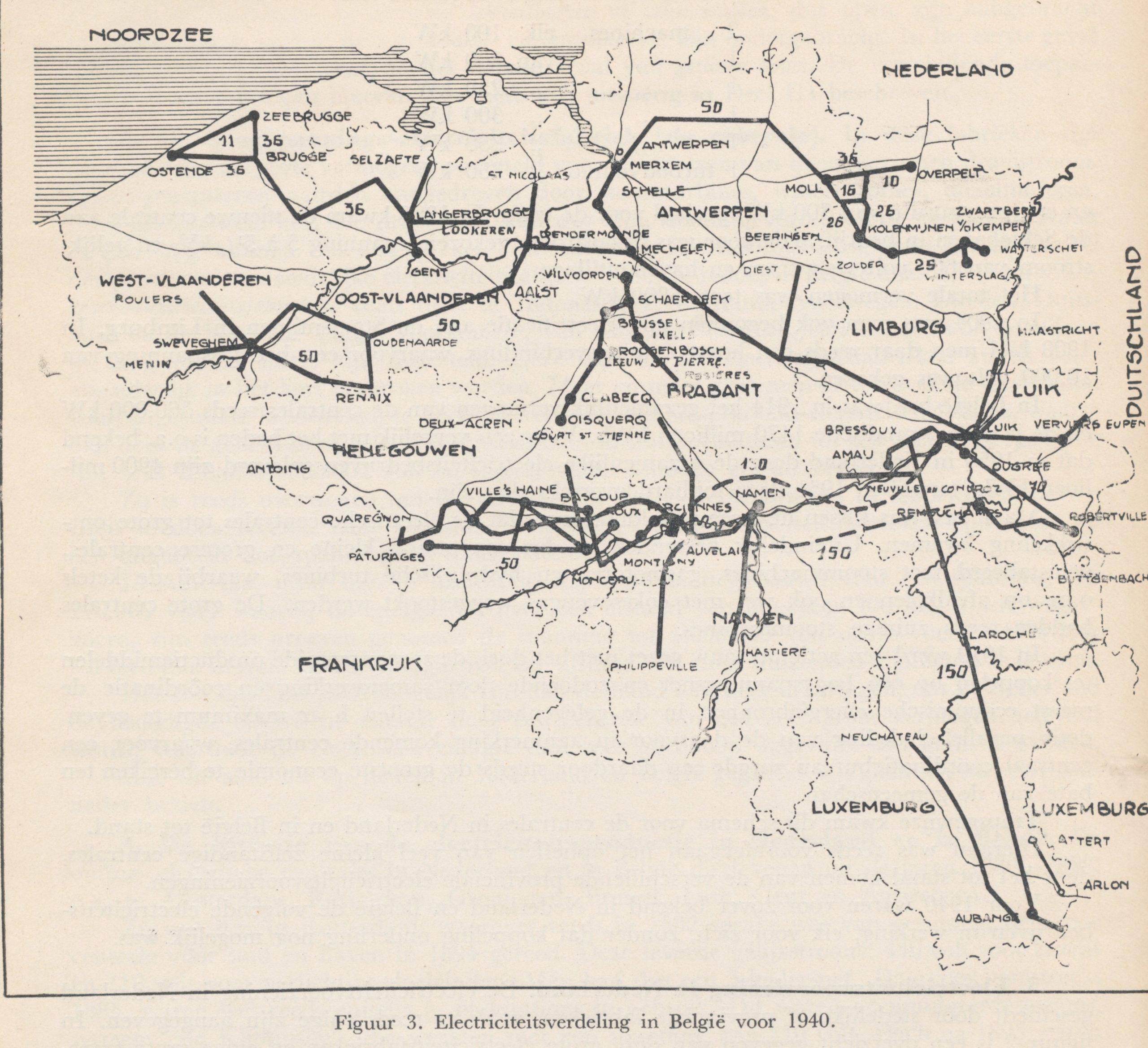 Netkaart van circa 1940