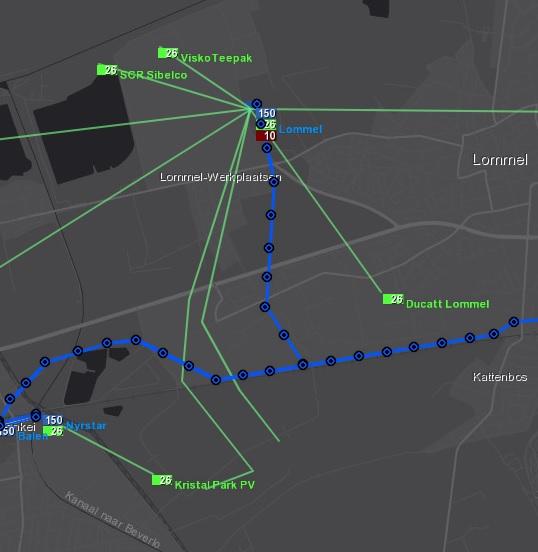 26 kV-net op de netkaart