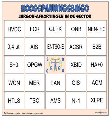 Bingokaart Jargonafkortingen