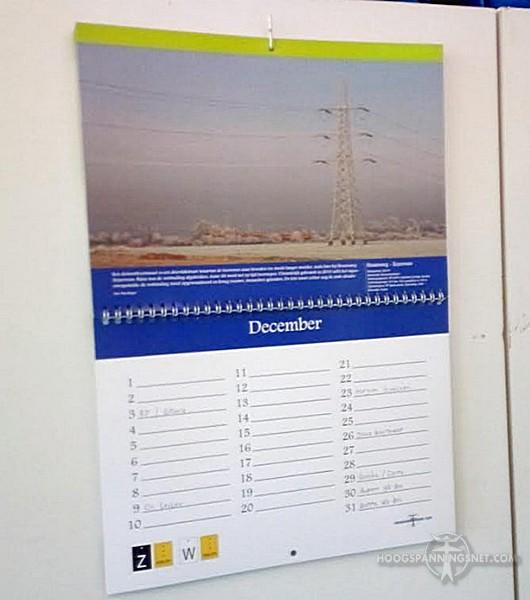 Toepassingsvoorbeeld van een afgedrukt exemplaar van de kalender