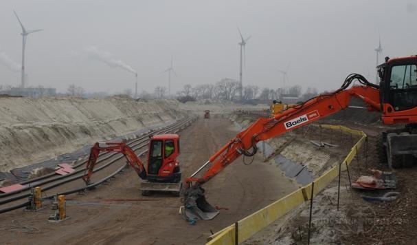 Gangbare kabelaanleg, met een open ontgraving