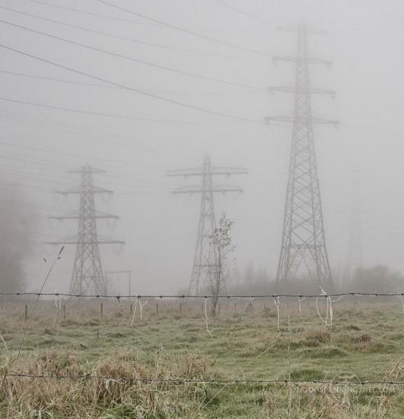 Hengelo Weideweg in de mist