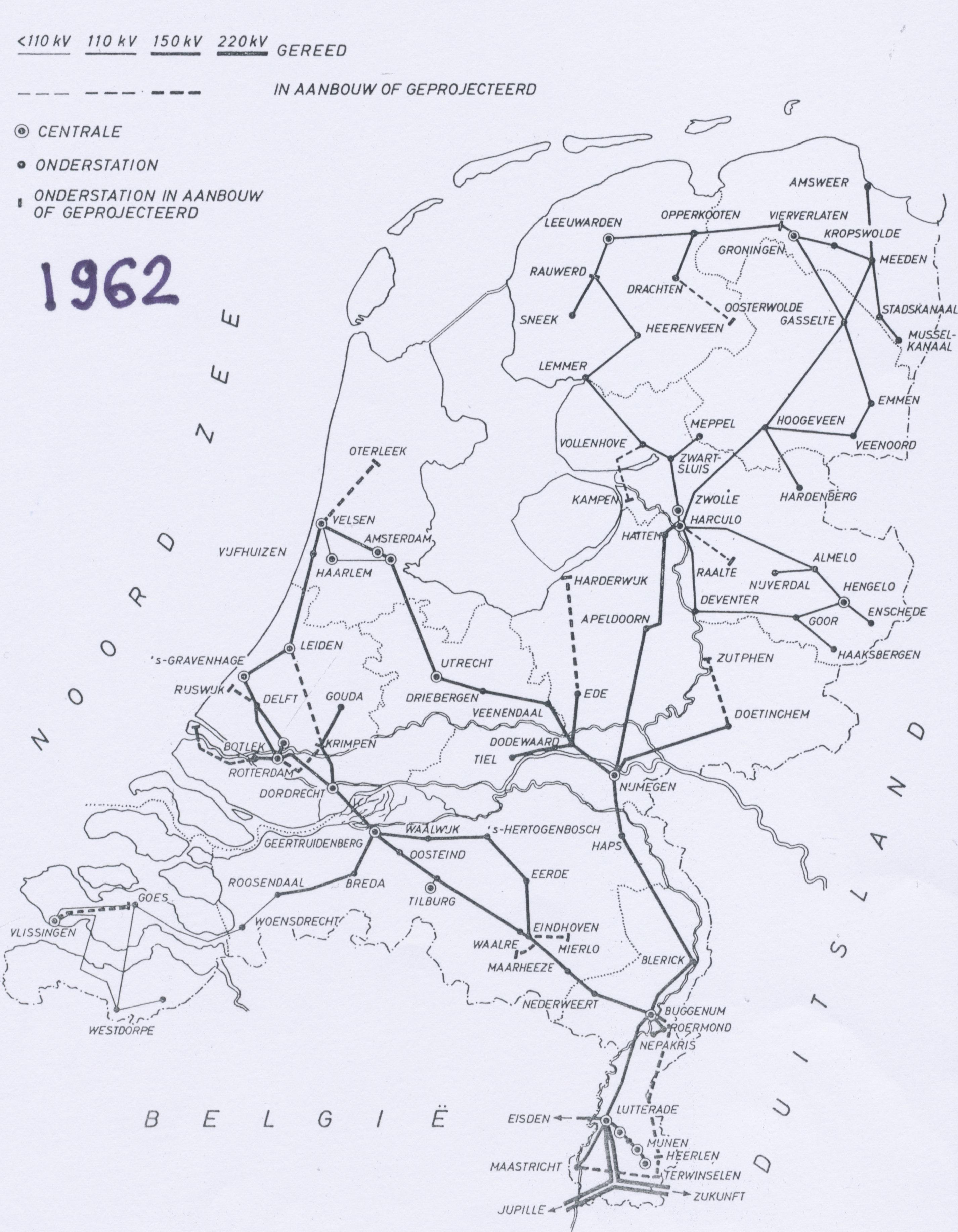 Netkaart van 1962
