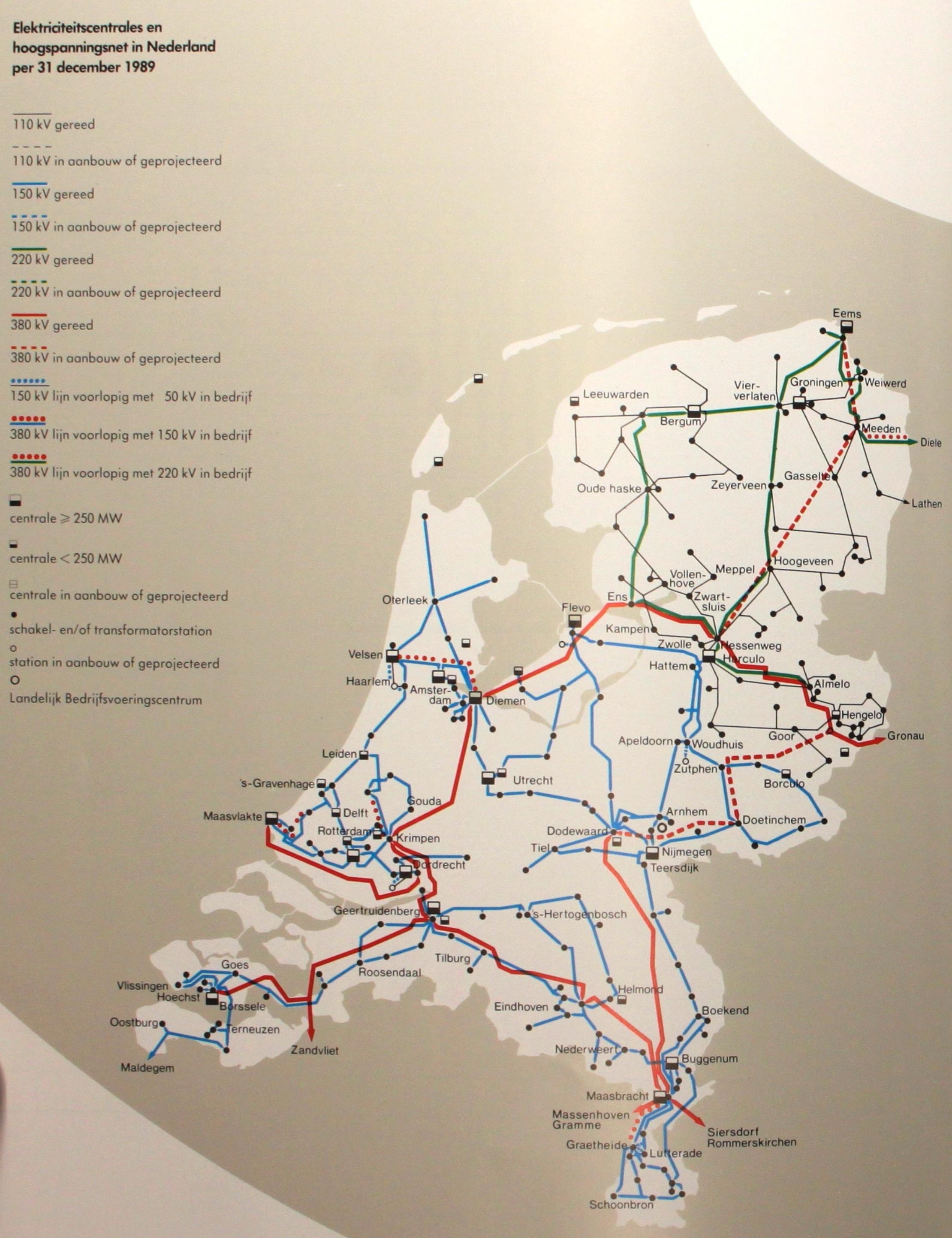 Netkaart van 1989