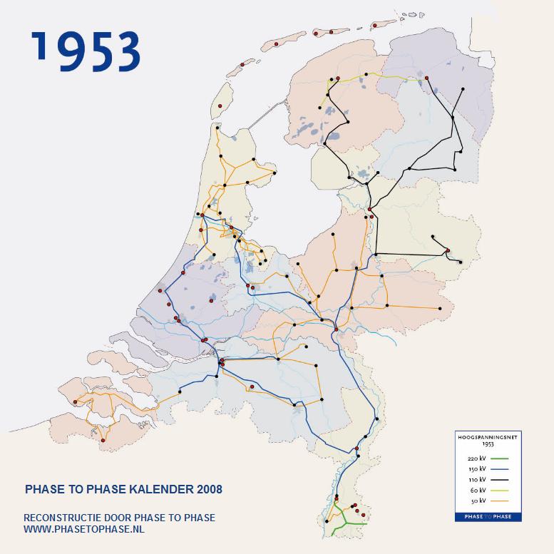 Reconstructie van de netkaart van 1953, gemaakt door Phase to Phase