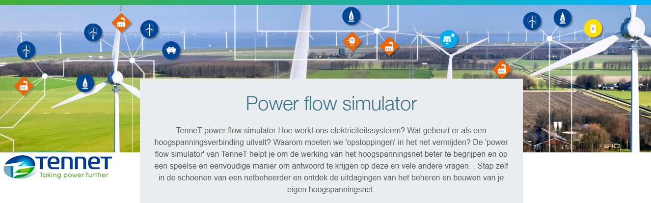 Banner van de Power Flow Simulator - klik om naar de website te gaan