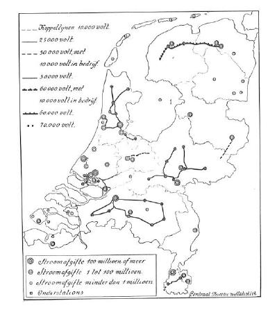 Netkaart 1930, getoond in Nederland Kabelland