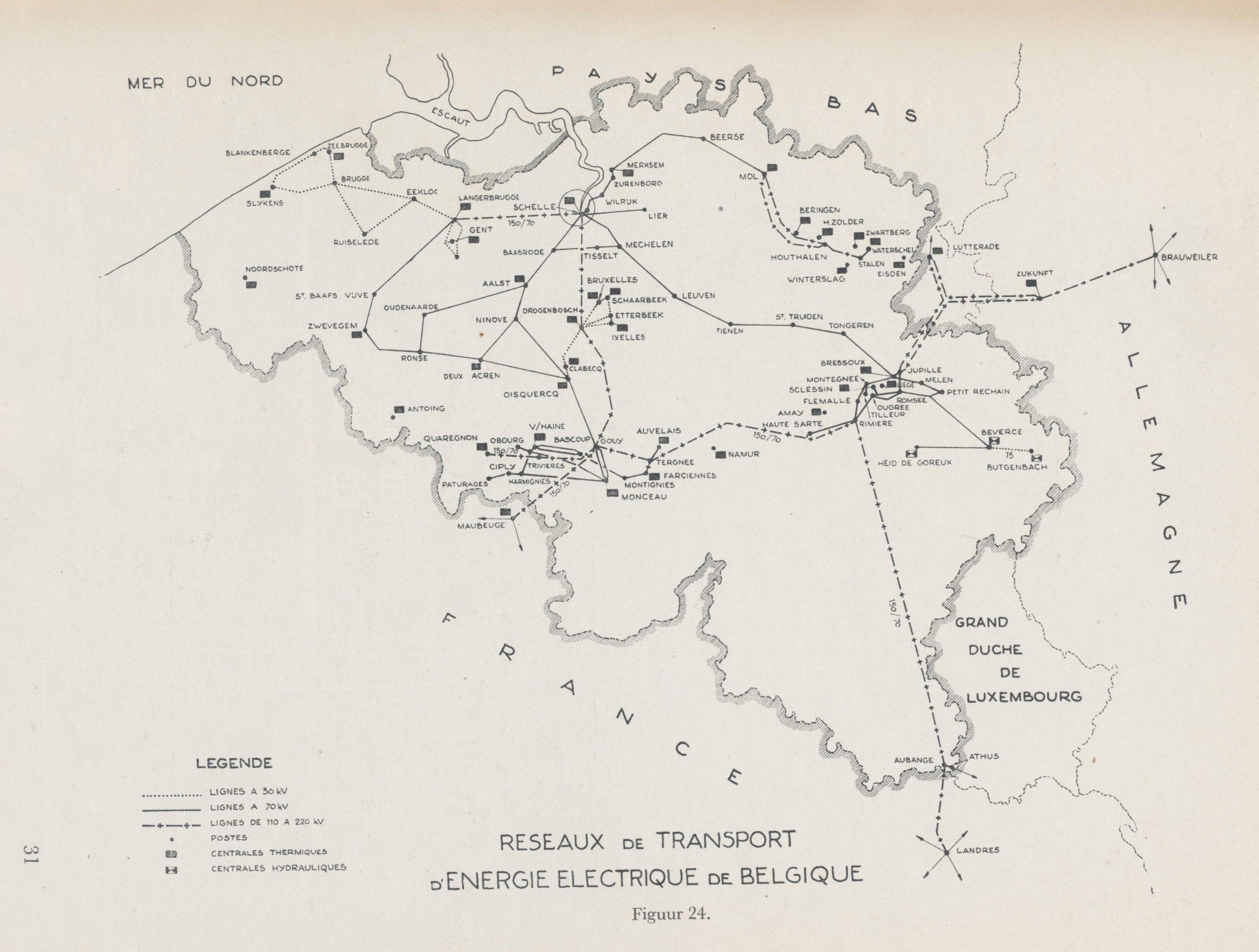Netkaart van rond 1960